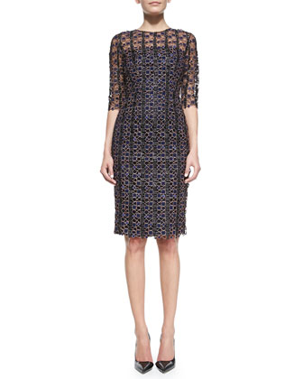 Half-Sleeve Geometric Lace Dress, Blue
