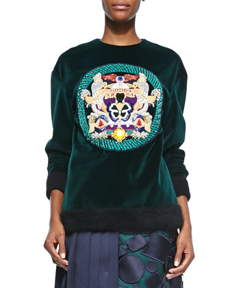 Embellished Medallion Velvet Sweatshirt, Black
