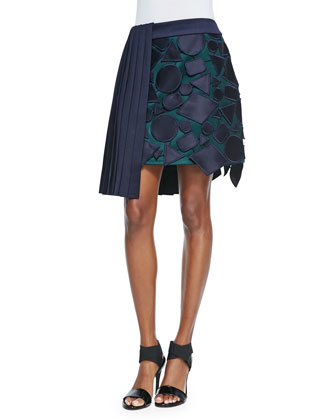 Geometric Applique Pleated Asymmetric Skirt, Navy/Green