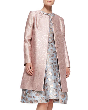 Sunset Cookie Cutter Jacquard Coat & Jewel-Neck Dress