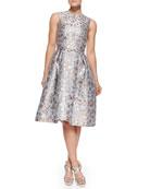 Astere Cookie Cutter Jacquard Jewel-Neck Dress