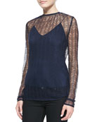 Long-Sleeve Lace Top with Cami, Navy