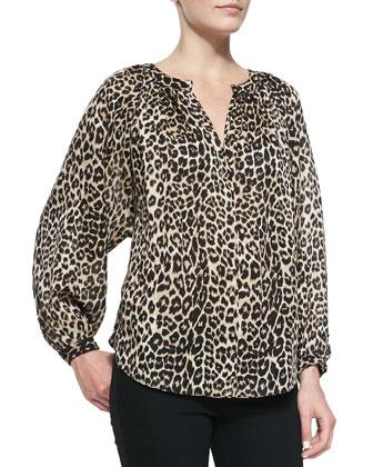 Leopard Printed Peasant Blouse