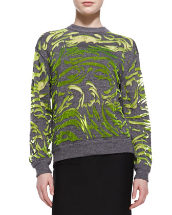 Paisley-Flocked Pullover Sweater and Fitted Back-Zip Pencil Skirt
