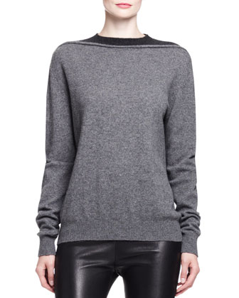 Splittable Two-Tone Cashmere Pullover
