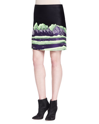 Short-Sleeve Bias-Draped T-Shirt and Mountain Jacquard Pencil Skirt