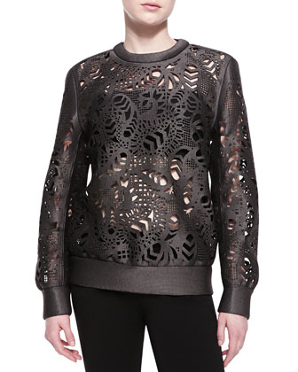 Laser-Cut Oversized Crewneck Sweater