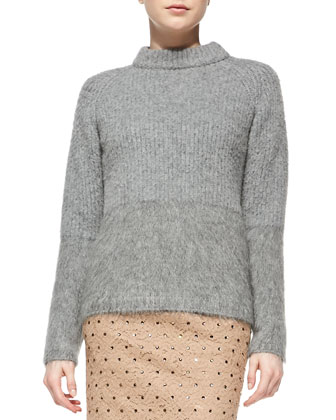 Ribbed Wool Mock Neck Sweater, Gray