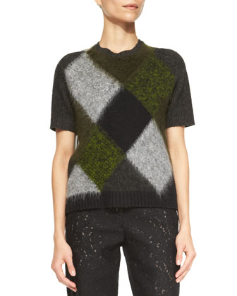 Sheer-Back Short-Sleeve Argyle Sweater, Green/Black
