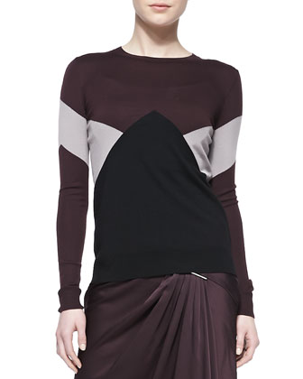Long-Sleeve Merino Intarsia Pullover Sweater, Black/Eggplant