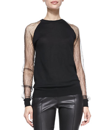Lace-Sleeve Sweatshirt & Stovepipe Leather Pants