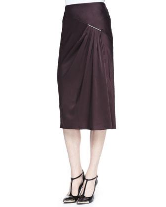 Long-Sleeve Merino Intarsia Pullover Sweater & Satin Crepe Midi Skirt