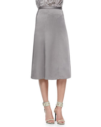 Sleeveless Swivel Velvet Tie Shell & Wool Crepe Trumpet-Hem Skirt