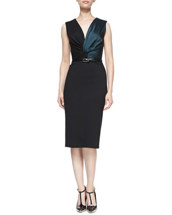 Sleeveless Twisted Sheath Dress with Belt, Black/Evergreen