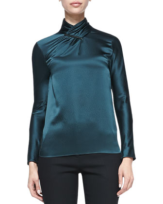 Bi-Stretch Wool Lapel Jacket, Long-Sleeve Hammered Silk Blouse & Bootcut Pants