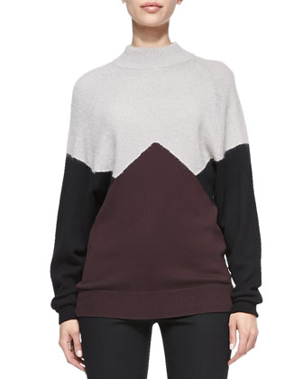 Long-Sleeve Colorblock Pullover Sweater & Bi-Stretch Wool Bootcut Pants