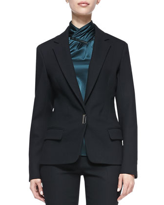 Bi-Stretch Wool Lapel Jacket, Black