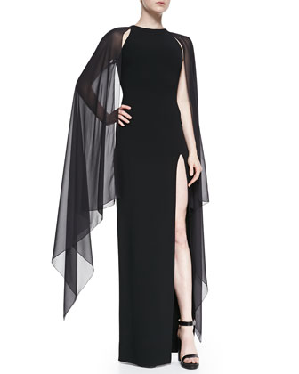 Wool-Crepe Gown with Cape Back