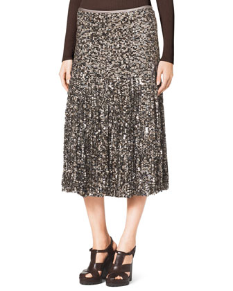 Knit Blouson Peasant Top & Tulle/Paillette Skirt