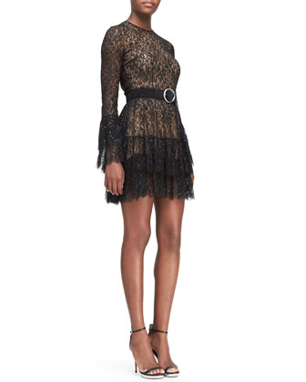 Beaded Lace Tiered-Skirt Dress