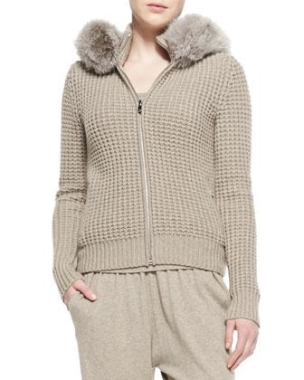 Fur-Trim Waffle Hoodie, Cashmere Rib-Hem Tank & Wide-Waist Cashmere Sweatpants