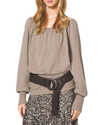 Cashmere Knit Blouson Peasant Top