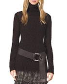 Fuzzy Mohair Turtleneck Sweater