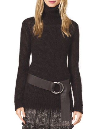 Fuzzy Mohair Turtleneck Sweater