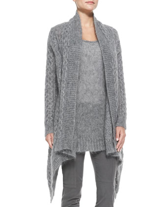 Long-Sleeve Draped Mohair Cardigan, Mohair Chunky Knit Tank & Stretch ...
