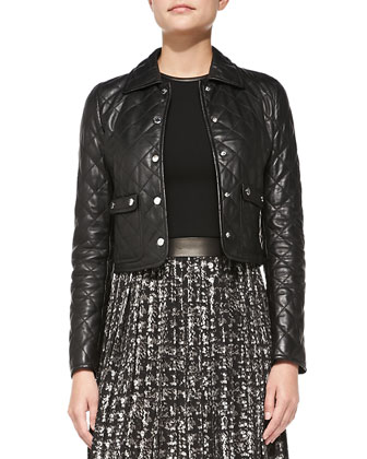 Quilted Leather Cropped Jacket & Leather-Trim Combo Dress