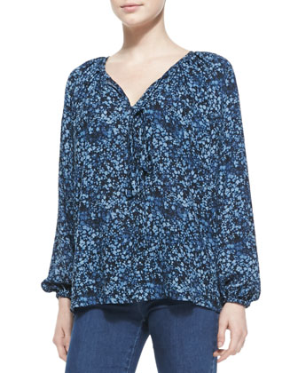 Floral-Print Peasant Top & Stretch-Denim Flared Jeans