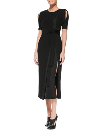 Slit-Shoulder Belted Jersey/Satin Sheath Dress