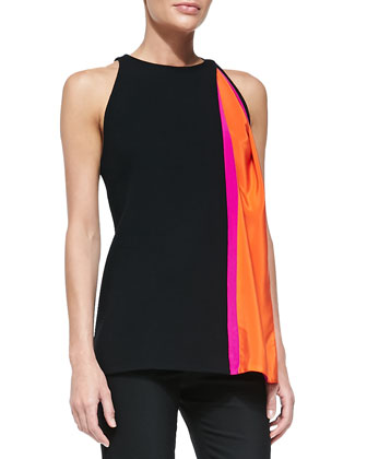 Contrast-Insert Sleeveless Crepe Top