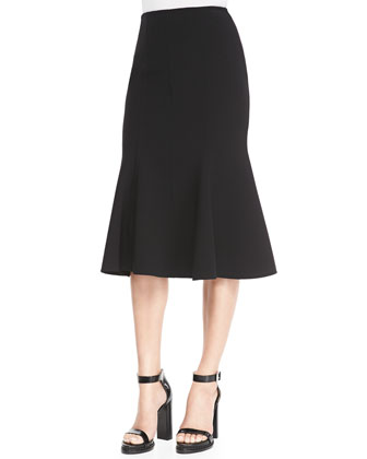 Embellished Puff-Sleeve Blouse & Fitted Stretch Flare-Hem Skirt