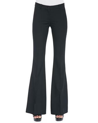 Off-The-Shoulder Chiffon Top & Stretch-Wool Flared Trousers