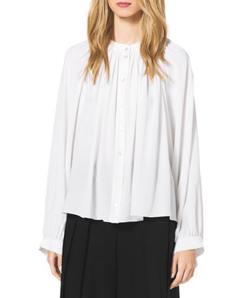 Gathered-Shoulder Blouse