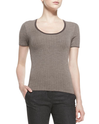 Short-Sleeve Herringbone Top