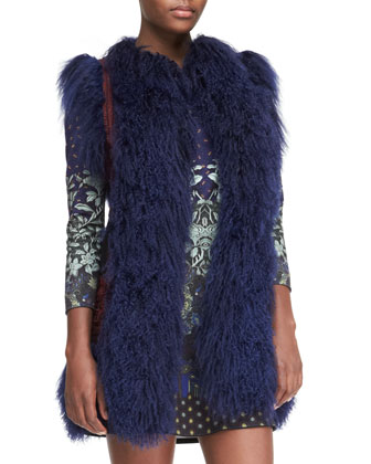 Mongolian Lamb Fur and Passementerie Vest & Floral-Print Jersey Tunic Dress