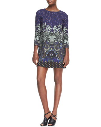 Floral-Print Jersey Tunic Dress, Blue/Multi