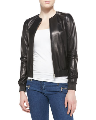 Rib-Trim Leather Bomber Jacket