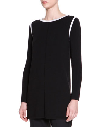 Long-Sleeve Contrast-Trim Knit Tunic, Black/White