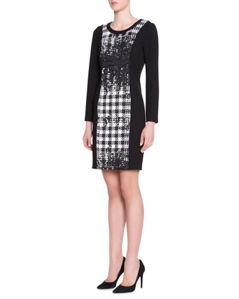 Stand-Collar Abstract Houndstooth Jacket & Long-Sleeve Dress