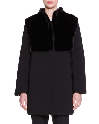 Puffer Jacket with Mink Fur, Long-Sleeve Contrast-Trim Knit Tunic & Kim ...