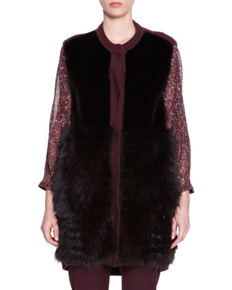 Mink/Fox Fur Knit-Trim Vest, 3/4 Puff-Sleeve Smocked Pleat Top & Stretch ...