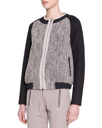 Tweed & Jersey Bomber Jacket, Taupe/Black