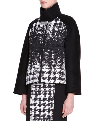 Stand-Collar Abstract Houndstooth Jacket