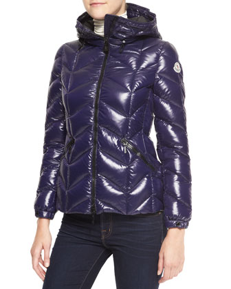 Oversize-Collar Hooded Puffer Coat, Plum