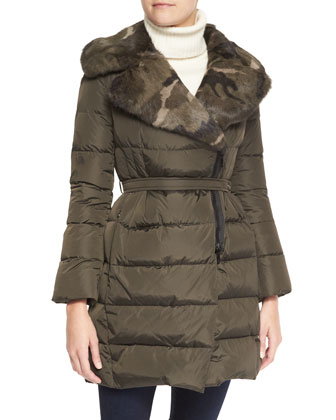 Camo Fur-Lapel Puffer Jacket