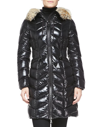 Fur-Trim Shiny Puffer Jacket
