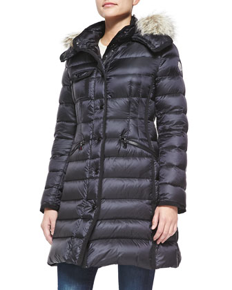 Fur-Trim Hooded Puffer Jacket